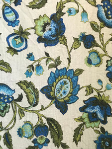 1960's Jacobean Blue Floral Barkcloth