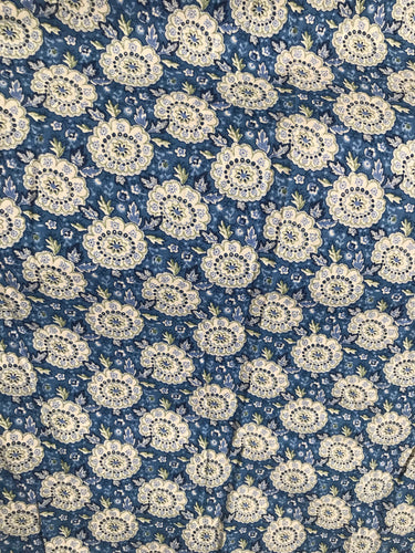 1960/70's Blue Circle fabric with tiny leaves