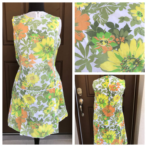 1960's Oversize Floral Romper with Metal zip - M/L
