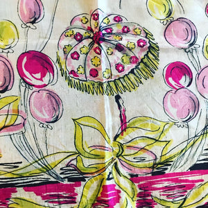 1950's Silk Scarf with Dancing Ladies, Balloons, Umbrellas and Masks