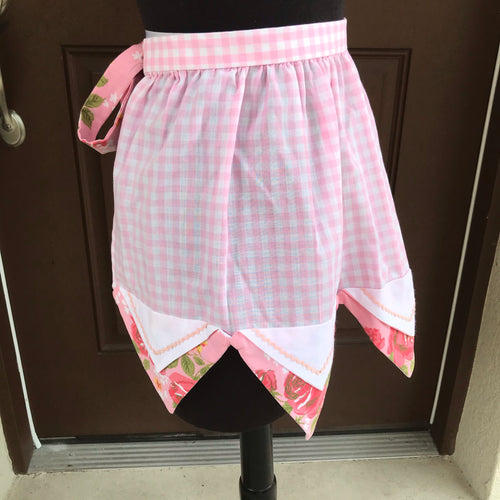 1960's Pink Gingham with rose fabric - Half Apron - Cotton Blend