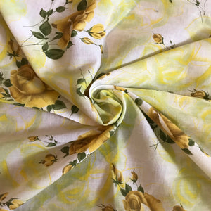 1950's Oversized Yellow Rose Fabric