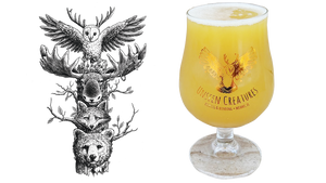 Two items shown side by side. On the left is artwork of a tower of forest animals. On the right is a glass of a light colored beer in a saison glass with the unseen creatures logo on the glass.