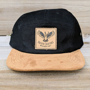 Front View of Black Hat with Cork Bill