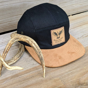 Front Top View of Black Hat with Cork Bill With Deer Antler Decoration
