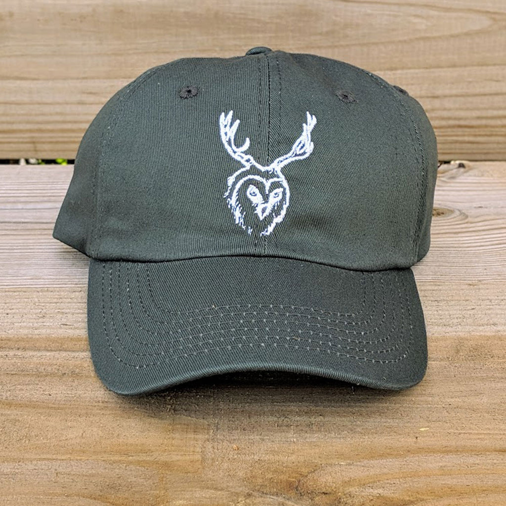 Front View of 'Dad Hat' style hat with unseencreatures logo