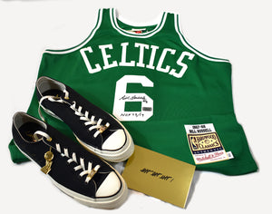 "Special Package Autographed Authentic Mitchell & Ness Jersey and Converse Chucks 70 Low ""Think 16"" – HOF 75/19"