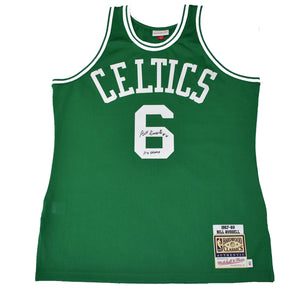 "Autographed Authentic Mitchell & Ness NBA Jersey ""Bill Russell #6 11X Champ"""