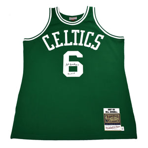 "Autographed Authentic Mitchell & Ness NBA Jersey ""Bill Russell #6 5x MVP"""