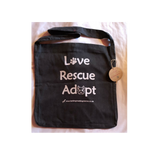 'Love, Rescue, Adopt', Salvage Tote - Charcoal