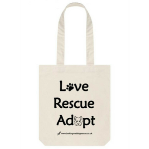 BMDR Natural Tote - Love, Rescue, Adopt