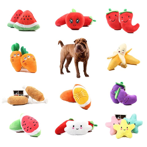 20202f8bc8b 1pc Fruit Vegetable Chicken Drum Bone Squeak Toy For Dog Puppy Plush Red  Pepper Eggplant Radish
