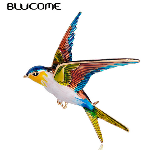38926d76a7e Blucome New Arrival Swallow Bird Shape Colorful Enamel Brooches Animal Pin  For Women Kids Scarf Suit