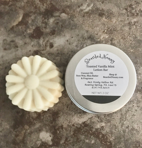 Toasted Vanilla Mint Lotion Bar in a Tin