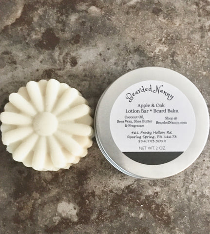 Apple & Oak Lotion Bar & Beard Balm in a Tin