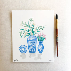 Blue and White Trio