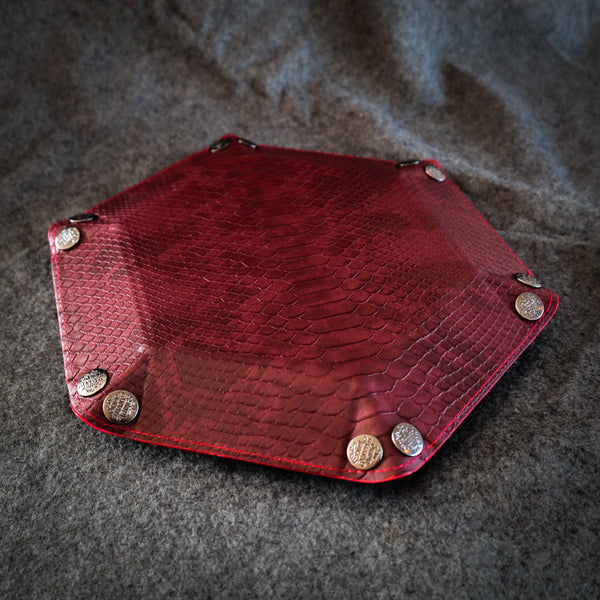 Red Dragon Leather Dice Tray