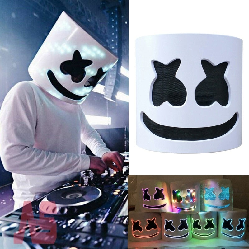 Dj Marshmello Mask Cosplay Halloween Party Led Luminous Mask