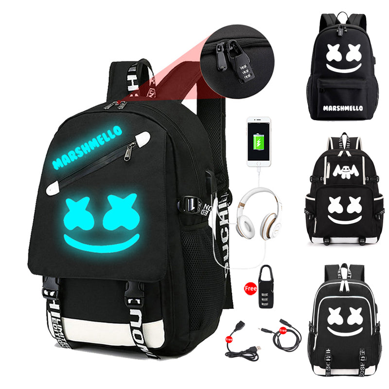 DJ Marshmello Luminous Multifunction USB Charging Backpack
