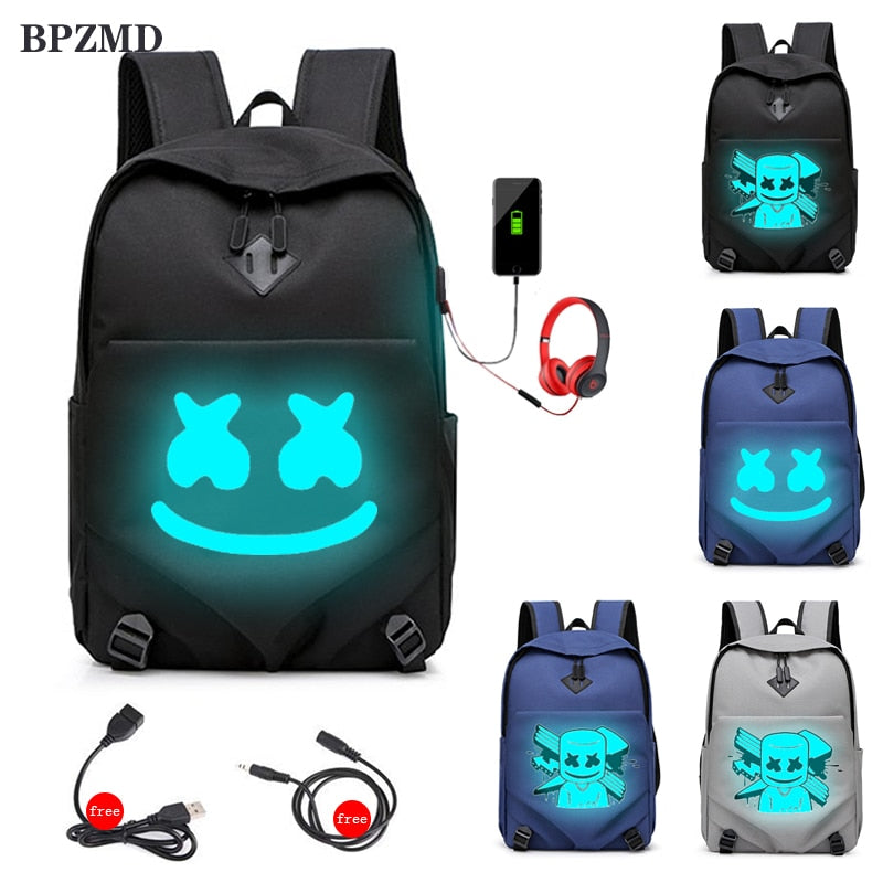 DJ Marshmello Teenage Backpack USB Charging Backpack