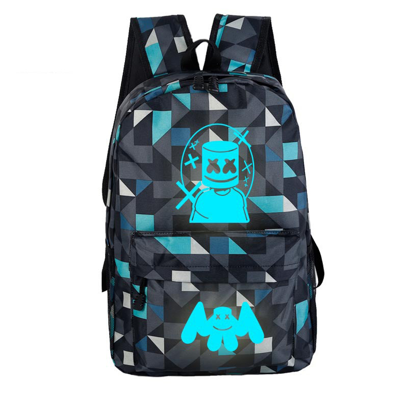 DJ Marshmello Luminous School Bag Fashion Travel Backpack