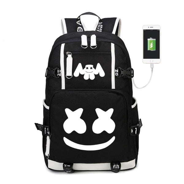 Fashion DJ Marshmello Luminous USB Charging Teenager Backpack