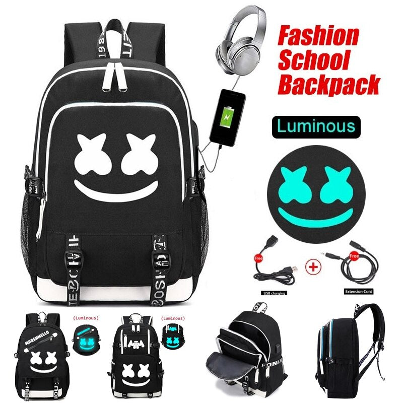DJ Marshmello Luminous Backpack USB Charging Teenager School Bag