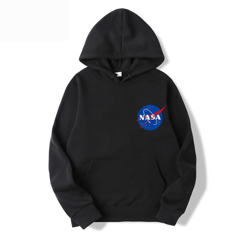 Fashion NASA Logo Print Hoodie Sweatshirt With Pocket