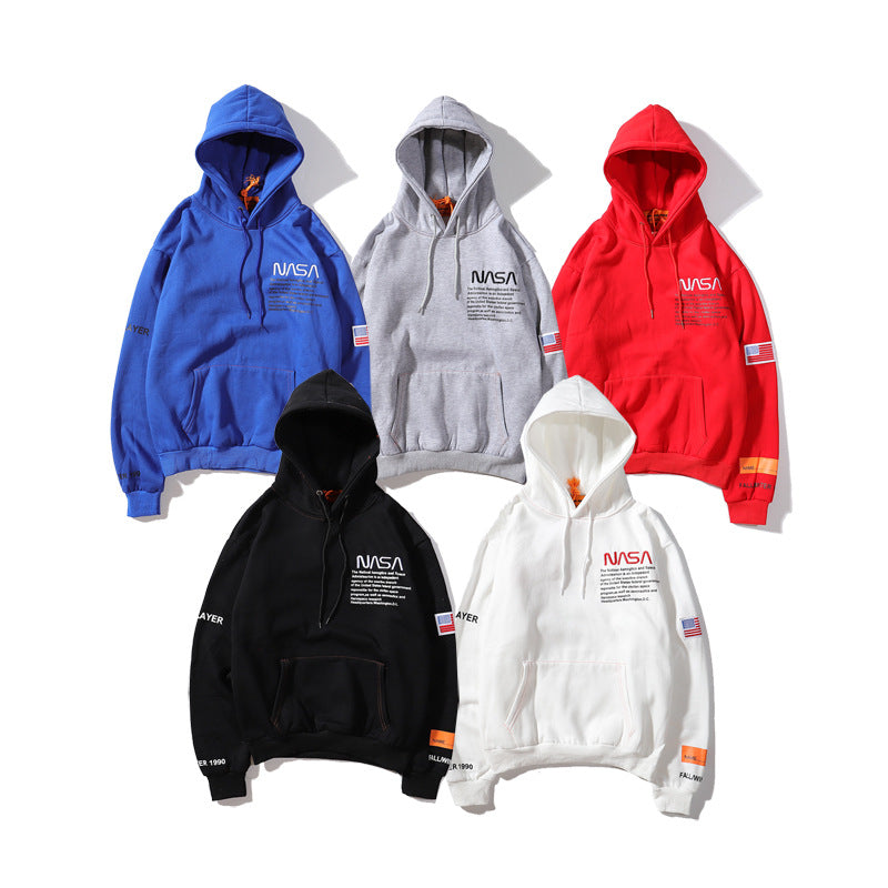 Fashion NASA Print Loose Pullover Hoodie For Men/Women
