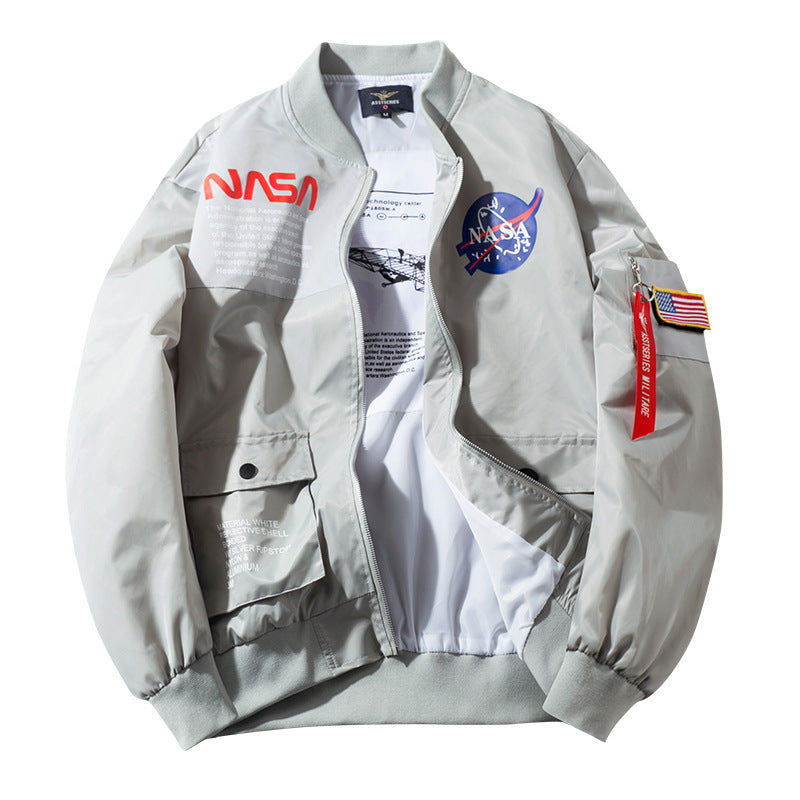 Men/Women NASA Loge Biker Bomber Jacket