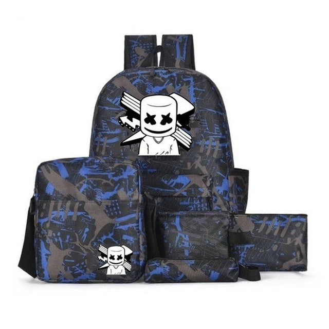 5PCS DJ Marshmello School Bag Unisex Travel Bags Backpack