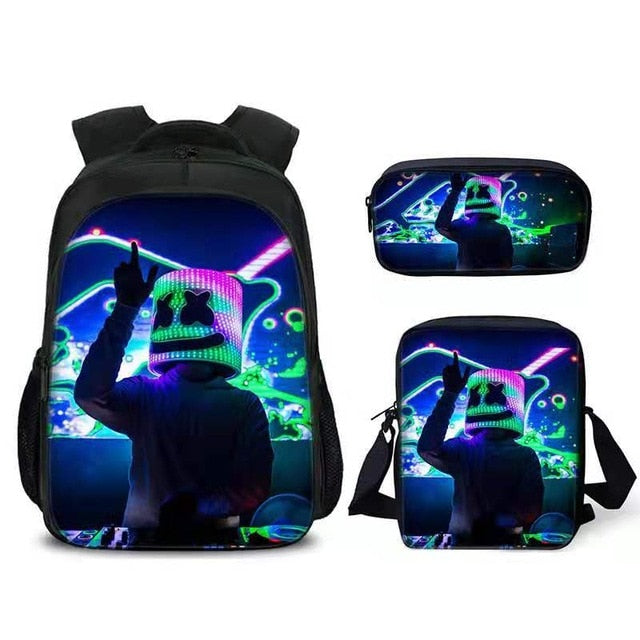 DJ Marshmello Fashion Backpack Kids Bookbag Travel Bag