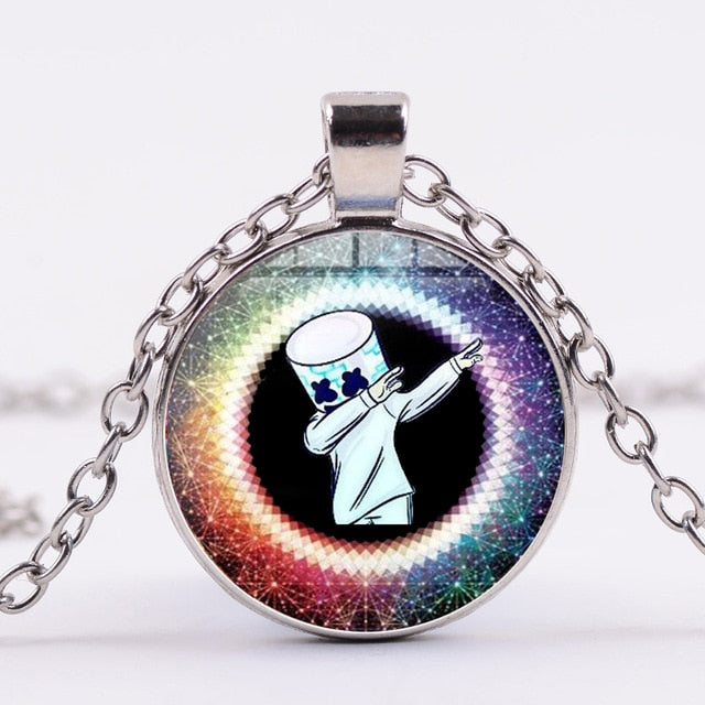 DJ Marshmello Metal Chain Figures Print Necklace