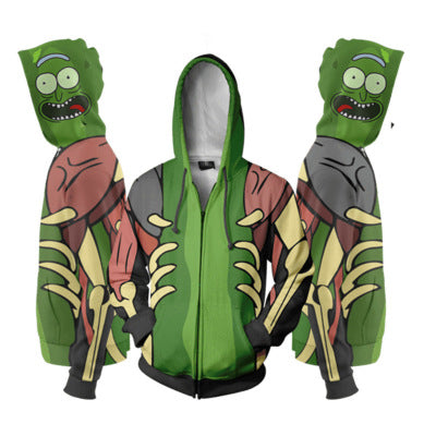 Unisex 3D Rick and Morty Hoodie Zipper Pockets Sweatshirts
