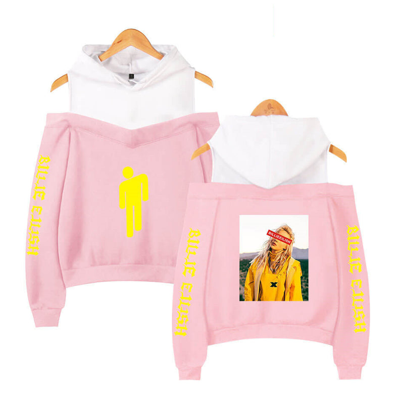 Women Billie Eilish Hoodie Cold Shoulder Sweatshirt