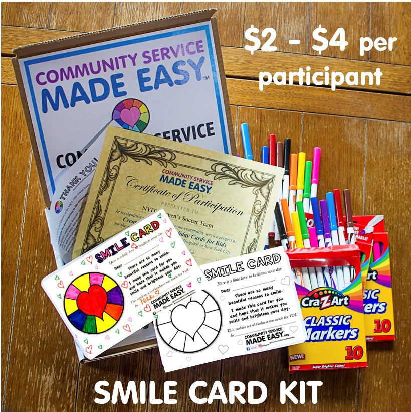 Community Service Project Kit - Color & Donate Smile Cards