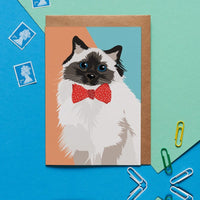 Bow Tie Cat Greeting Card By Lorna Syson