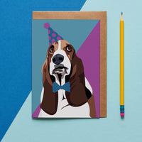 Basset Hound Dog Greeting Card By Lorna Syson