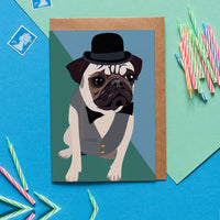 Pug Dog Greeting Card By Lorna Syson