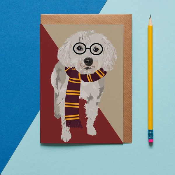 Raggly The Harry Potter  Dog Greeting Card By Lorna Syson