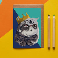 Royal Cat Greeting Card By Lorna Syson
