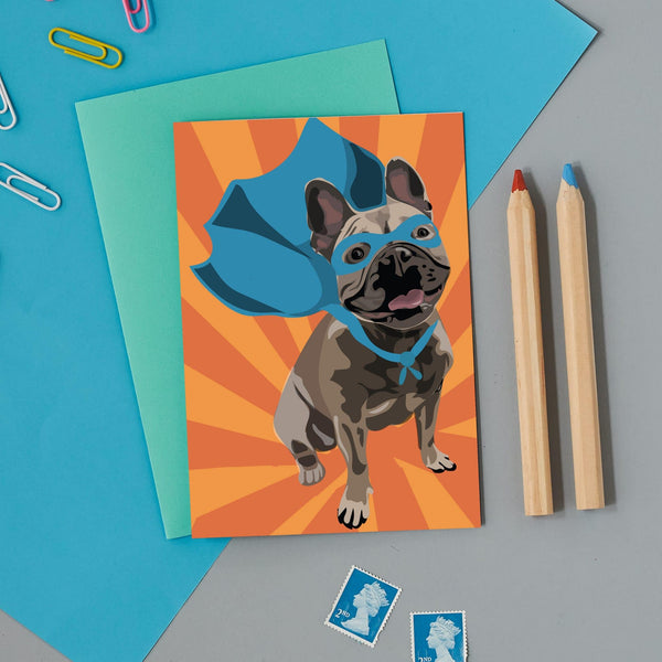 Superhero Frenchie Greeting Card By Lorna Syson