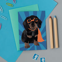 Superhero Sausage Dog Greeting Card By Lorna Syson