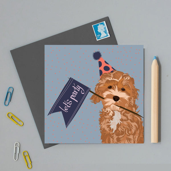 Lets Party Dog Greeting Card By Lorna Syson