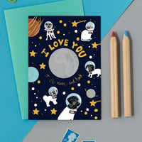 Astro Dogs Greeting Card By Lorna Syson
