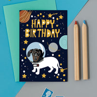 Astro Sausage Dog Birthday Card By Lorna Syson