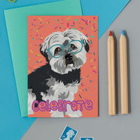 Celebrate Havenese Dog Greeting Card By Lorna Syson