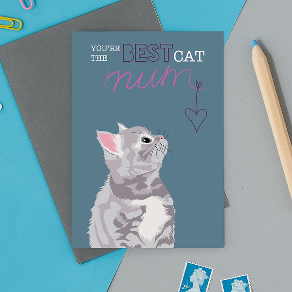 Best Cat Mum Greeting Card By Lorna Syson