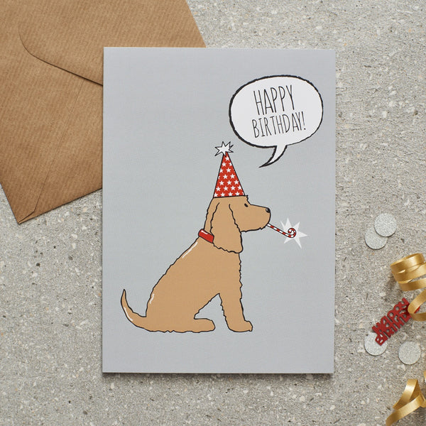Cocker Spaniel Golden Happy Birthday Dog Greetings Card By Sweet William
