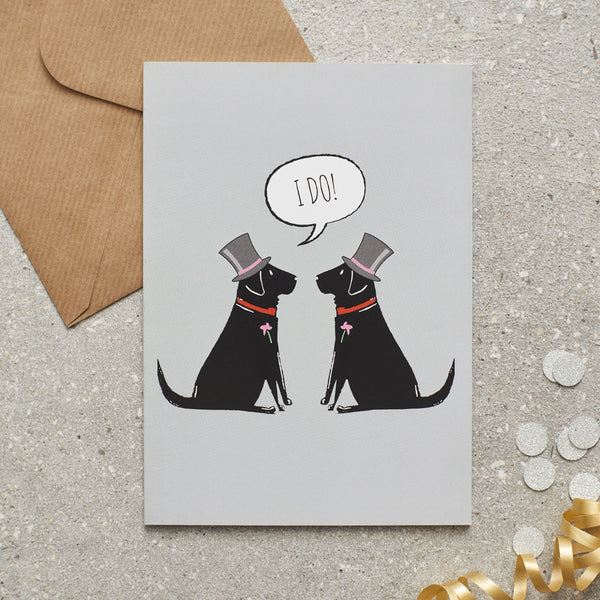 Black Lab Wedding Greetings Card By Sweet William